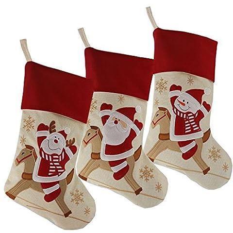 Wewill Marke Lovely Weihnachtsstrümpfe Set von 3 Santa, Rentier, Schneemann Xmas Character 3D Plüsch Leinen Hanging Tag Strickborte,17-Inch/ 45CM