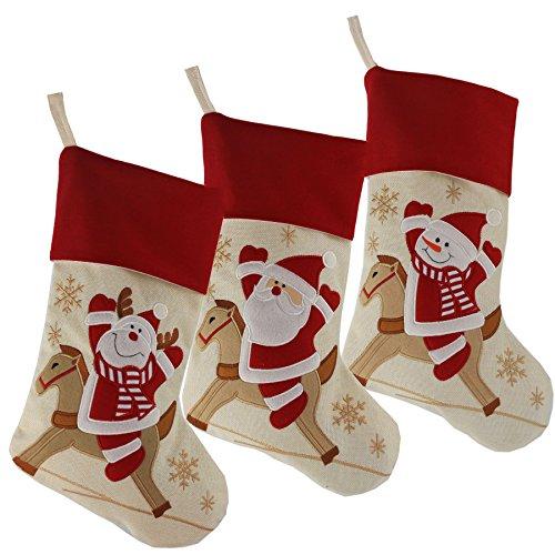 Wewill Marke Lovely Weihnachtsstrümpfe Set von 3 Santa, Rentier, Schneemann Xmas Character 3D Plüsch Leinen Hanging Tag Strickborte,17-Inch/ 45CM (Weihnachts Elfen Dekoration)