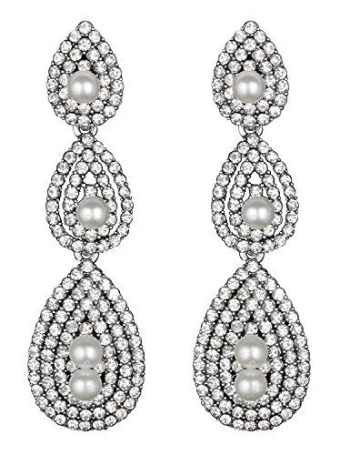 Vijiv Damen Gatsby Ohrringe Vintage 1920er Tropfen Kronleuchter Flapper Schmuck Accessoires einheitsgröße silber