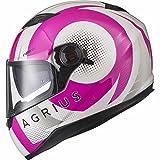 Agrius Rage SV Warp Motorcycle Helmet XS Gloss Pearl White/Pink