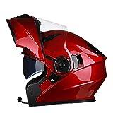 MERRYHE Unisex Full Face Helmets Männer Motorrad Helm Damen Flip up Cool Hardhat Für Motocross Mehr Wählt mit Anti-Nebel-Objektiv,Red/Bluetooth-XXL