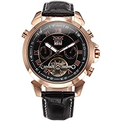 AMPM24 Men's Rose Gold Case Date Aviator Automatic Mechanical Leather Watch + AMPM24 Gift Box PMW282