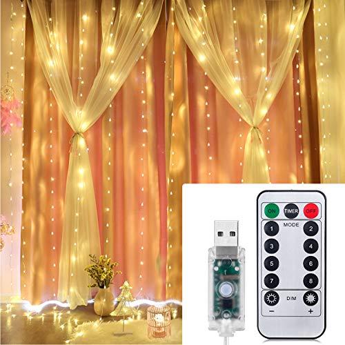 IDESION Girlanden Luminous 300LED 3m * 3m mit Haken IP65 Wasserdicht 8 Modi Beleuchtung Vorhänge Licht mit Fernbedienung für die Innendekoration Outdoor Schlafzimmer Hochzeit Weihnachtsfeier Warmweiß -