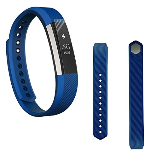 Preisvergleich Produktbild Sansee Ersatz-Armband Silikon-Gürtelschnalle + Schutzfolie für Fitbit Alta HR (Silikonband + Folie) (Blau)