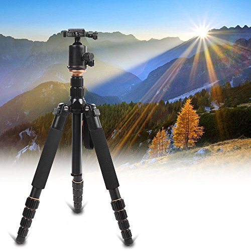 Andoer Q666 Treppiede Reflex Cavalletto Fotografico Cavalletto Foto Treppiede Portatile in lega di alluminio per Canon Nikon Sony DSLR Camera con Testa a Sfera