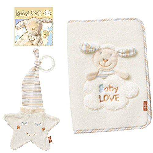 BabyFehn U-Heft-Hülle Schaf & Schmusetuch Stern mit Ring 30cm // 2er Set // Baby LOVE Collection // Lebhafte Farben und Materialien //