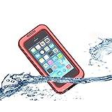 Banath Wasserdichte Hülle iPhone 5 5S 5C 4 4S, IP68 Zertifiziert Wasserdichte Stoßfest Schutzhülle Ganzkörper Rugged Schale Case für iPhone 5 5S 5C 4 4S - Rot