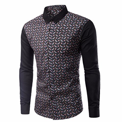 Men's Turn Down Collar Print Long Sleeved Casual Shirts Navy blue