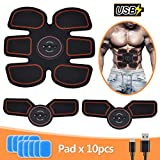 Abs Trainer, SLB USB Rechargeable Muscle Stimulator, Updated EMS Ab Toner with 6