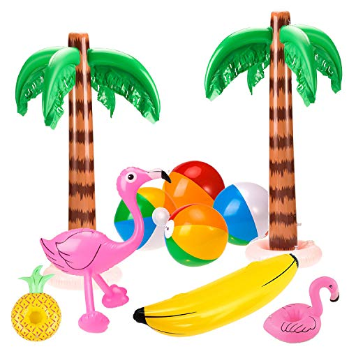 SHI WU 10 Pack Jumbo Inflable Palmeras Flamencos Juguetes Inflable Banana Inflable...