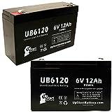 2x Pack–Ersatz Critikon lumetric Infusion simplic–Ersatz ub6120Universal versiegelte Blei-Säure-Batterie Akku (6V, 12Ah, 12000mAh, F1Terminal, AGM, SLA)–inkl. 4F1zu F2Terminal Adapter