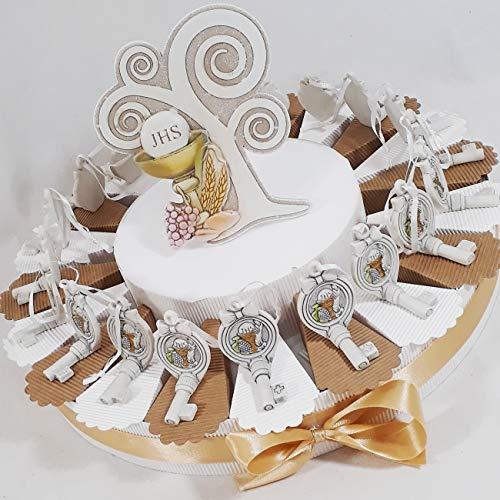 Bomboniere comunione ecomomiche originali torta porta confetti portachiavi cuore calice (torta 20 fette chiavi comunione)