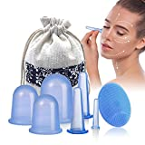 Schröpfen Silikon - Mifine schröpfgläser silikon, cupping set, massage cups, gesicht schröpfen anti-cellulite massage vakuum gerät, 7 Stück Gesicht & Körper (7pcs blau)