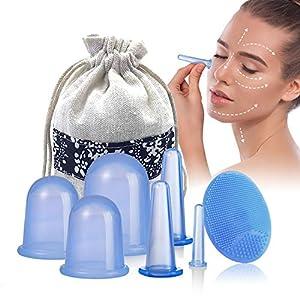 Schröpfen Silikon – Mifine schröpfgläser silikon, cupping set, massage cups, gesicht schröpfen anti-cellulite massage vakuum gerät, 7 Stück Gesicht & Körper (7pcs blau) (Schröpfen + Rolle)