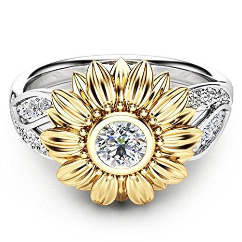 Frauen Diamant 7 Ringe Größe Für (Ringe Für Damen Ring Damen Der Herr Der Ringe DAY.LIN Exquisite Frauen zwei Ton Silber Floral Ring Runde Diamant Gold Sunflower Jewel (US-Größe 7))