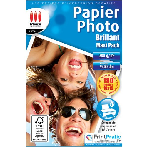 PAPIER PHOTO BRILLANT PACK ECO 10 X 15 CM (200) 170 GR 5760 DPI