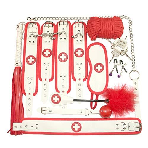 SLH Bündel 10-teiliges Set Leder Double Lock Stahl Police Edition Professionelle Handschellen Interessante Partyartikel/Bühne oder Kostüm Flexible Kiddie Handschellen (Color : Nurse)