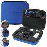 mtb more energy Schutztasche XL für Sony FDR-X1000V, X3000R / HDR-AZ1, AS300(R), AS200V, AS100V, AS50 ... - Blau - Koffer Case Stecksystem Modular