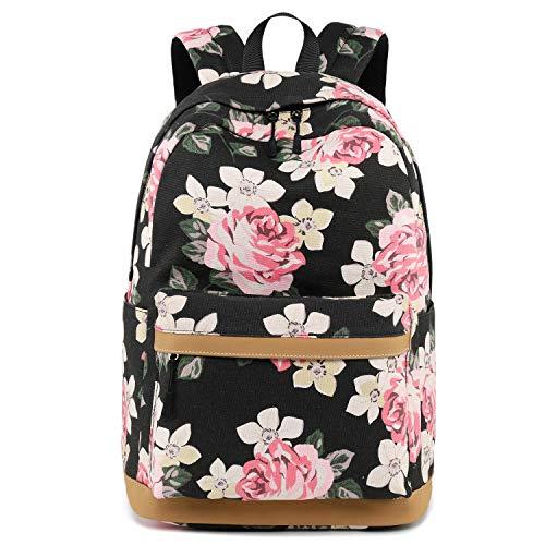 Oflamn Zaino Scuola Superiore Media Ragazza Zaino Pc 15'' Pollici Leggero - Floral School Backpack (3.0 pink rose)
