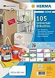 Herma 12902 Universal-Etiketten (A4 ablösbare, matt Papier 5 Blatt Packung, 63,5 x 38,1 mm) 105 Stück weiß