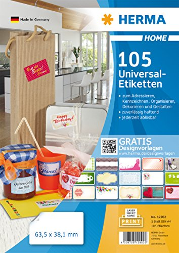 Herma 12902 Home Etiketten ablösbar o. Rückstände (63,5 x 38,1 mm auf DIN A4 Papier matt) 105 Aufkleber, 5 Blatt, weiß, bedruckbar, selbstklebend