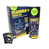 mibenco 71006038 FELGENFOLIE+ und Effekt Set, 2 x 400 ml, Neon-Grün - Flüssiggummi Spray / Sprühfolie - Neue Neon-Farbe und Schutz zum Felgen lackieren