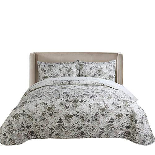 Hilin Bettwäsche-Set, Mikrofaser, wendbar, für Doppelbett/Queen/King-Size-Betten mit Betten, als Tagesdecke, Decke oder Bettbezug, weich, leicht und hypoallergen King Garden Gray (Queen Bett Set Mit Bettbezug)