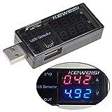 Lysignal Débitmètre double USB Chargeur Tester Mètre USB Multimètre USB Tension de courant Tester Meter Voltmètre USB Ampère Détecteur Double rangée Spectacles