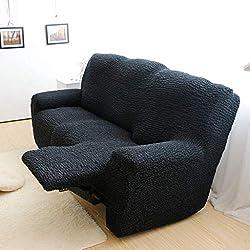 Stretch Fauteuil Relax Housse, élastique Housse De Canapé Jacquard Sofa Housse pour Canapé Relax Protège Canapé pour 1 2 3 Place -Noir-3 Place210-240cm