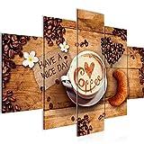 Bilder Küche Kaffee Wandbild 150 x 100 cm Vlies - Leinwand Bild XXL Format Wandbilder Wohnzimmer Wohnung Deko Kunstdrucke Braun 5 Teilig - MADE IN GERMANY - Fertig zum Aufhängen 501253a