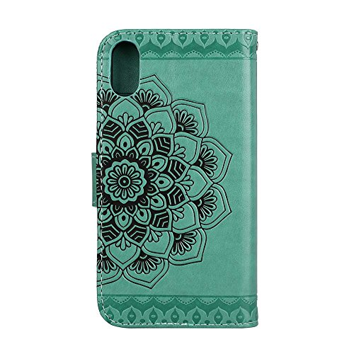 Custodia iPhone X, ESSTORE-EU Premium Portafoglio Protettiva Cover Custodia, Retrò Mandala Flip Wallet Case Custodia in Pelle per Apple iPhone X (2017) - Con Slot per Schede e Stand, Rosa Verde