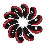 La testa del ferro di HeadCovers di golf del neoprene 10Pcs protegge il coperchio ( Colore : Black+Red )