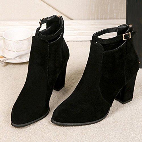 Longra Stivali tacco alto con cerniera lampo con cerniera e tacco alto in pelle sintetica per il tempo libero Nero
