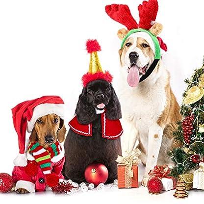 Frienda Astas Reno Navideño con Orejas, Conjunto de Capa y Bufanda de Rayas Verdes Accesorios de Disfraces de Navidad de Perro, para Perros Cachorros Gatos Mascota