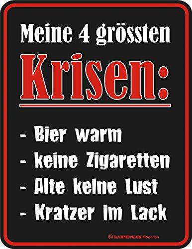 Original sin marco, Cartel de chapa Mis 4größten Krisen: Cerveza c