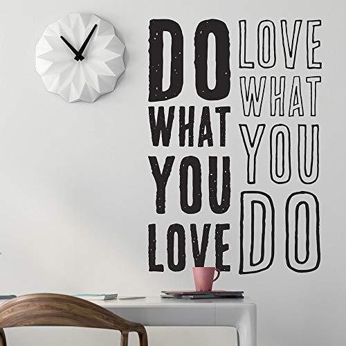 Tun was Sie lieben Lieben was Sie tun Zitat Vinyl Wandtattoo Wohnkultur Wohnzimmer Kunst Wandbild entfernbare Wandaufkleber 43 * 63cm
