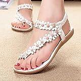 Womens Sandals Fashion Summer Bohemia Beaded Sandals Clip Toe Sandals Beach Sweet Shoes Herringbone Flat Shoes by LMMVP