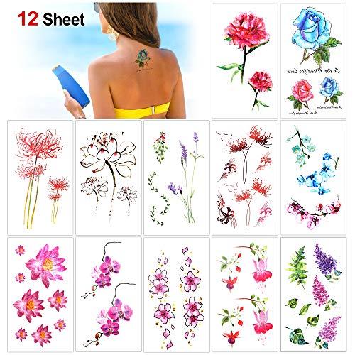 Konsait 12 Blätter Blume Temporäre Tattoos für Frauen, Wasserdicht Tätowierung Aufkleber Temporäre Klebe-Tattoos Körper Tattoos Festival Body Art für Mädchen, Erwachsene, Kinder