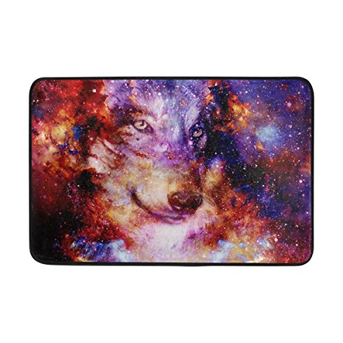 jstel Wolf Sky Nebel Universe Galaxy-Fußmatte waschbar Garten Büro Fußmatte, Küche ESS-Living Badezimmer Pet Eintrag Teppiche mit Rutschfeste Unterseite 59,9x (Halloween Nebel)