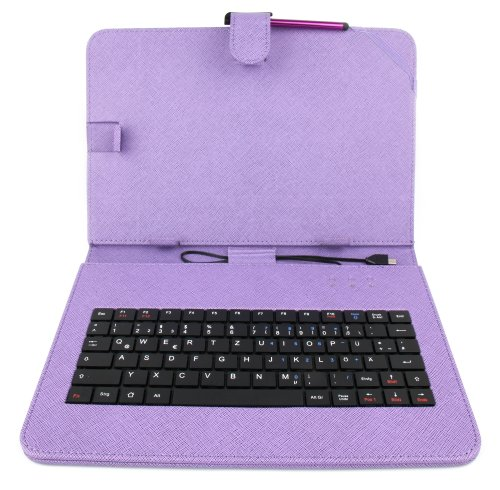 DURAGADGET Violettfarbene Tastatur mit DEUTSCHER QWERTZ-Belegung und Schutzhülle, kompatibel mit ODYS Tablet PCs (siehe Produktbeschreibung) (10 Zoll)