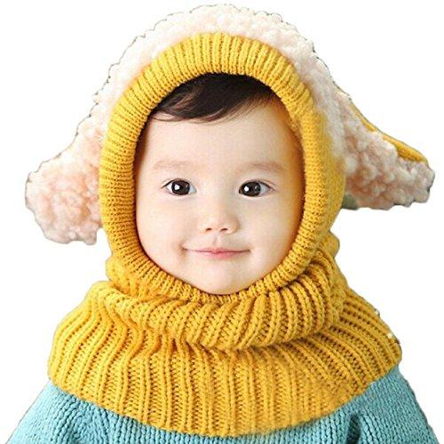 SevenPanda Winter Baby Kinder Mädchen Jungen Warme Wollene Haube Ohr Schal Mützen Hüte - Gelb (Stricken-gesicht-maske)