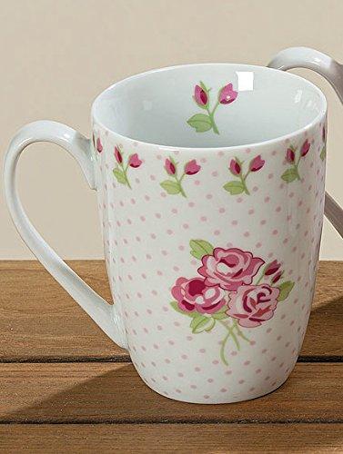 Tasse mit Henkel Porzellan Rose gepunktet 330ml Kaffeetasse
