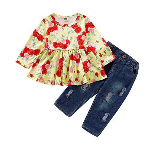 Comie Baby Kleidung Sets, Kleinkind Mädchen Langarm Blumendruck Tops Loch Denim Jean Hosen Outfits, Hochwertigen Materialien Keine Schäden für Die Haut Ihres Babys