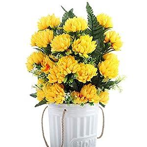 XIAOZHAO Flor Artificial Fiestas En Casa 4 Colores 52Cm 3Pcs 27 Cabezas Gerbera De Seda Margarita Crisantemo Flores…