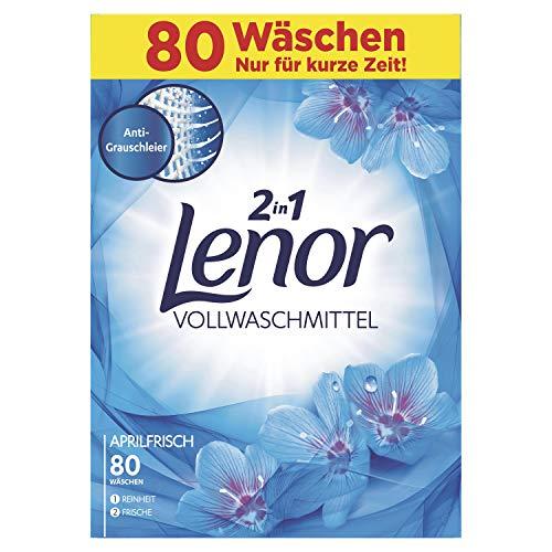 Lenor Vollwaschmittel Pulver Aprilfrisch, für Sauberkeit und Frische, 80Waschladungen, 5,2kg
