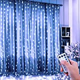 ShinePick Tenda Luminosa, Tenda Catena LED 3 * 3 metro 300 LEDs Luci Stringa Filo di Rame IP65 Impermeabile per Decorare Interni ed Esterni, Casa, Balcone, Salotto, Giardino,Terrazza(Bianco)