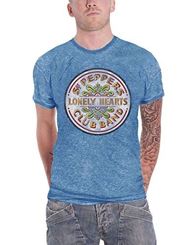 The Beatles T Shirt Sgt Pepper Drum Band Logo Nue Offiziell Herren Blau Burnout