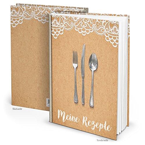 XXL HARDCOVER Rezeptbuch Kraftpapier Kochbuch weiß beige SPITZE zum Selberschreiben Mein Kochbuch Eigene Rezepte sammeln Buch groß DIN A4 mit Register! Notizbuch Geschenk Küche Kochen