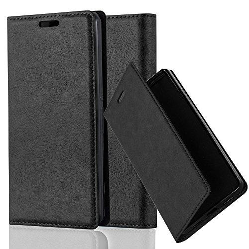 Cadorabo Hülle für Sony Xperia Z1 COMPACT - Hülle in Nacht SCHWARZ – Handyhülle mit Magnetverschluss, Standfunktion und Kartenfach - Case Cover Schutzhülle Etui Tasche Book Klapp Style