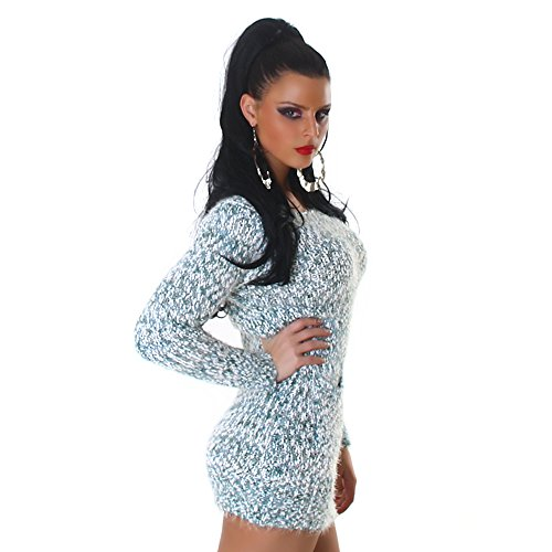 Confortable tricot pull tricot robe mini robe col rond de Jela femmes Londres Vert